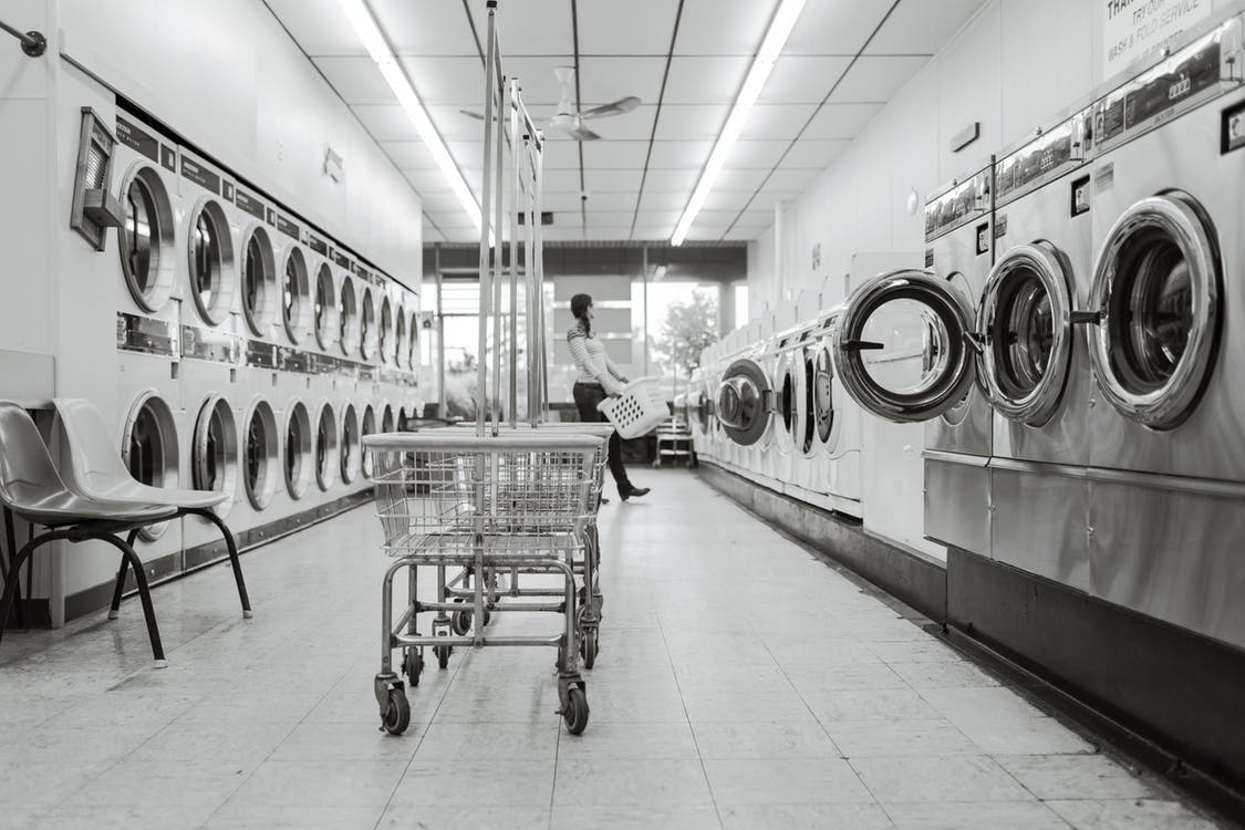 black-and-white-clean-housework-launderette
