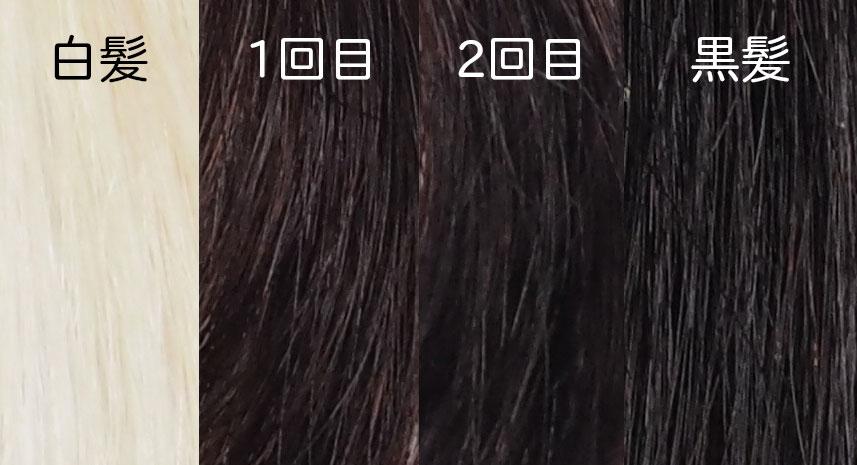 マイナチュレ 染毛テスト1回め、2回めとの比較